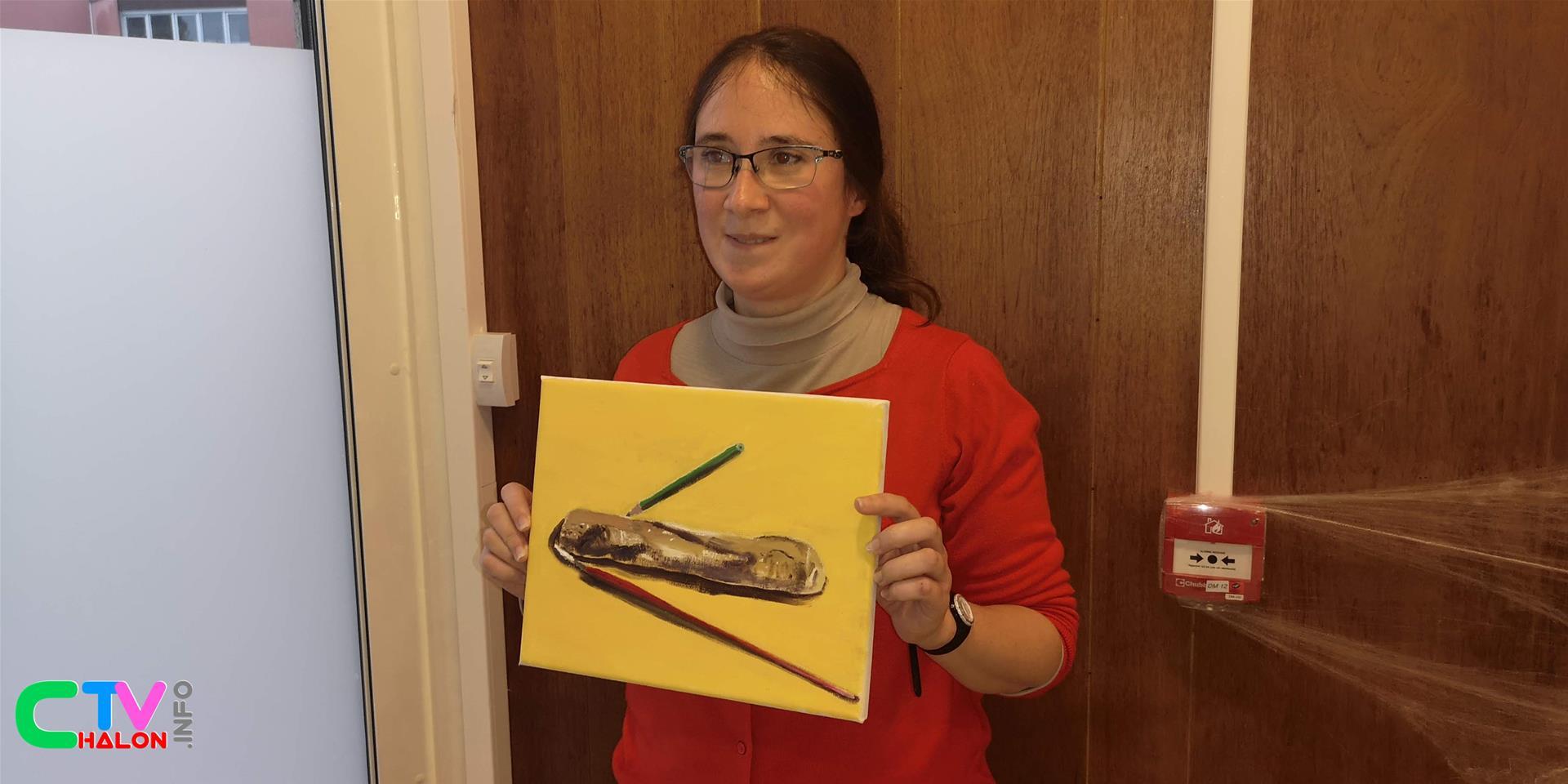 """Constance Dickson et une peinture qui illustrera son livre de poème """"Un vase rempli d'émotions"""" - sortie décembre 2019"""